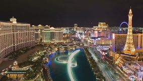 Vista aérea de la tira de Las Vegas, lapso de tiempo