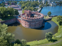 Vista aérea de la torre de Dohna, ahora el museo del ámbar en Kaliningrado, Rusia imagen de archivo libre de regalías