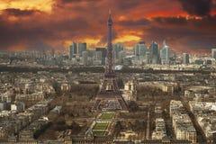 Vista aérea de la torre Eiffel Fotos de archivo libres de regalías