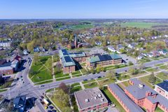 Vista aérea de la universidad de Clarkson, Potsdam, NY, los E.E.U.U. fotos de archivo libres de regalías