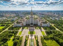 Vista aérea de la universidad de estado de Moscú fotos de archivo