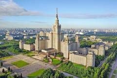 Vista aérea de la universidad de estado de Moscú fotos de archivo libres de regalías