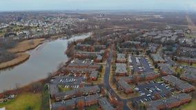 Vista aérea de la vecindad residencial los E.E.U.U. vivienda de developmen almacen de metraje de vídeo
