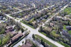 Vista aérea de la vecindad suburbana Imagenes de archivo