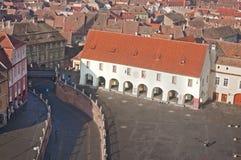 Vista aérea de la vieja configuración en Sibiu Fotografía de archivo