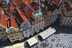 Vista aérea de la vieja plaza en Praga, República Checa foto de archivo