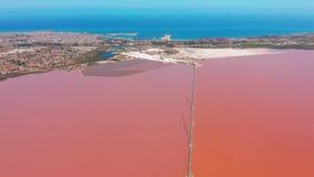 Vista aérea de las charcas de la evaporación de la agua de mar de la sal con color rosado almacen de metraje de vídeo