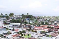 Vista aérea de las ciudades de chabola en ciudad de Panamá, Panamá Fotografía de archivo libre de regalías