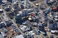 Vista aérea de las demoliciones del terremoto de Christchurch Imagen de archivo