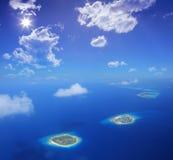 Vista aérea de las islas de Maldives, el Océano Índico Fotografía de archivo libre de regalías
