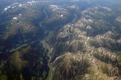 Vista aérea de las montañas Imágenes de archivo libres de regalías