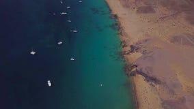 Vista aérea de las orillas y de las playas dentadas de Lanzarote, España, canario Playa de Papagayo almacen de video