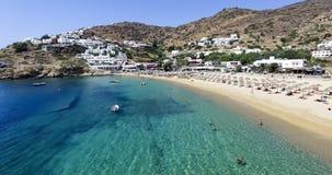Vista aérea de las playas de la isla griega de la isla del IOS, Cyclad Fotografía de archivo libre de regalías