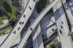 Vista aérea de las rampas de la autopista sin peaje de Los Ángeles Fotos de archivo