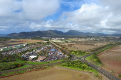 Vista aérea de Lihue, Kauai, Hawaii fotografía de archivo libre de regalías