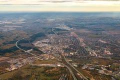 Vista aérea de Lisboa do plano ou do zangão, Portugal imagem de stock
