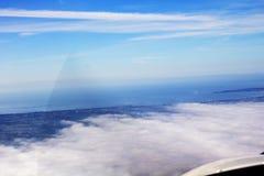 Vista aérea de Loire, nuvens, céu do pântano de Nazário Oceano Atlântico de Saint Foto de Stock