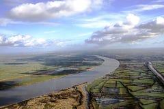 Vista aérea de Loire, nuvens, névoa da manhã do anf do céu do pântano de Nazário Oceano Atlântico de Saint Imagens de Stock Royalty Free