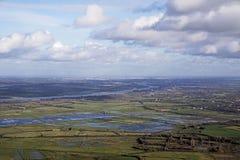 Vista aérea de Loire, nuvens, névoa da manhã do anf do céu do pântano de Nazário Oceano Atlântico de Saint Fotografia de Stock Royalty Free