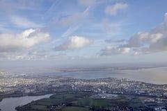 Vista aérea de Loire, nuvens, névoa da manhã do anf do céu do pântano de Oceano Atlântico Foto de Stock