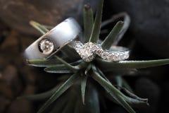 Vista aérea de los anillos de bodas hermosos con las decoraciones - (Macr fotos de archivo libres de regalías