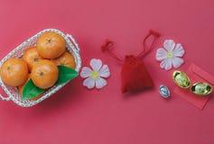 Vista aérea de los artículos superiores para el fondo chino del concepto de la Feliz Año Nuevo Imagen de archivo libre de regalías