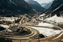 Vista aérea de los caminos de Mont Blanc Fotografía de archivo libre de regalías
