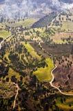 Vista aérea de los campos de granja Imágenes de archivo libres de regalías