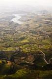 Vista aérea de los campos de granja Fotografía de archivo