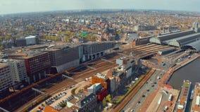 Vista aérea de los canales en Amsterdam almacen de metraje de vídeo