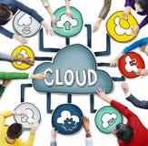 Vista aérea de los conceptos computacionales de la gente y de la nube Imagen de archivo libre de regalías