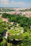 Vista aérea de los jardines de Vatican, Roma Fotografía de archivo