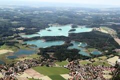 Vista aérea de los lagos bavaria Fotos de archivo libres de regalías