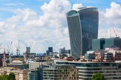 Vista aérea de los rascacielos de la ciudad de Londres Imágenes de archivo libres de regalías