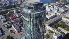 Vista aérea de los rascacielos y del atasco reflexivos de la oficina en un distrito financiero moderno Espejos del cielo y imágenes de archivo libres de regalías