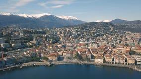 Vista aérea de Lugano video estoque