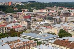 Vista aérea de Lviv, Ucrania imagen de archivo