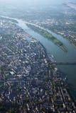 Vista aérea de Maguncia en el río Rhine Fotografía de archivo
