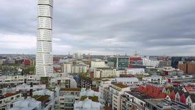 Vista aérea de Malmö, Suecia almacen de video