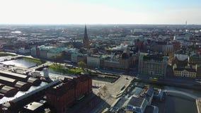 Vista aérea de Malmö, Suecia metrajes