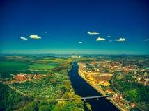 Vista a?rea de Melnik pelo rio de vltava fotografia de stock royalty free