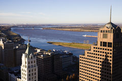 Vista aérea de Memphis céntrica Foto de archivo libre de regalías