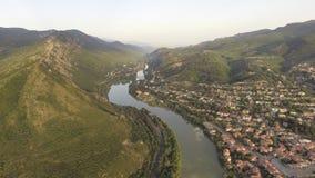 Vista aérea de Mtskheta, Geórgia filme