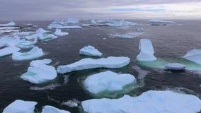 Vista aérea de muitos iceberg na água Andreev vídeos de arquivo