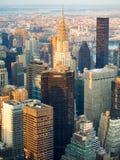 Vista aérea de New York City no por do sol Fotografia de Stock