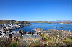 Vista aérea de Oban, Escocia Fotografía de archivo