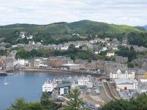 Vista aérea de Oban, Escocia Imágenes de archivo libres de regalías