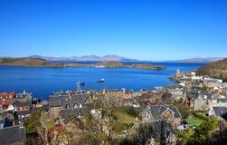 Vista aérea de Oban no dia ensolarado, Escócia Imagens de Stock