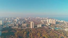 Vista aérea de Odesa Central Park - arboreto Peremohy video estoque