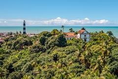 Vista aérea de Olinda Lighthouse e da igreja de nossa senhora de Grace, igreja Católica construída em 1551, Olinda, Pernambuco, B imagens de stock royalty free